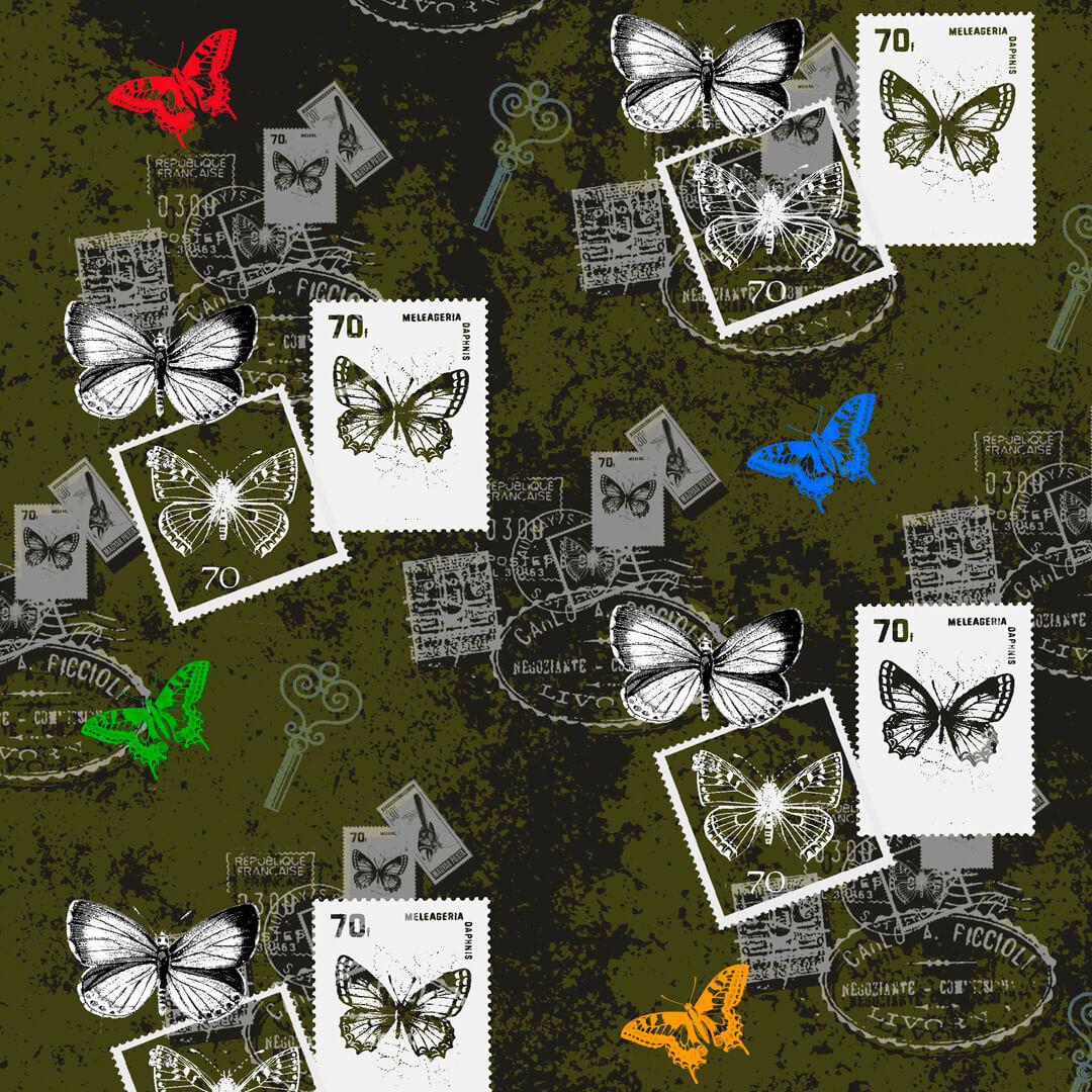 Schmetterlinge-Vintage-Invers